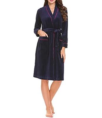L'amore Womens Long Sleeve Fleece Bathrobes Kimono Spa Robe