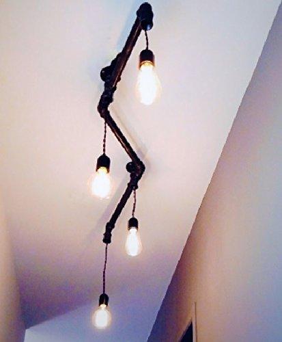 Lampe/Plafonnier/Lustre industriel en fonte / Industrial Black iron cast chandelier