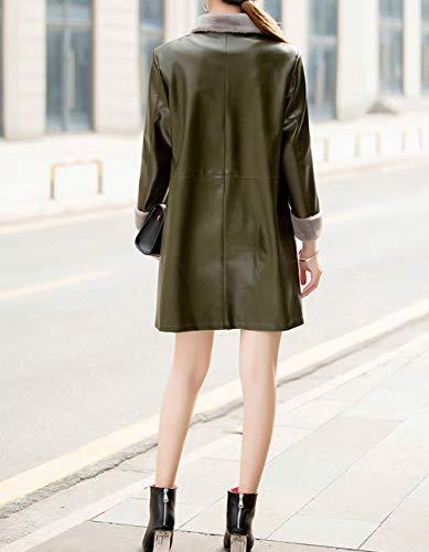 A Media Vestibilità Donna Cappotto Di Pu Chiusura Moda Slim Army Giacca Bottoni Lunga Pelle Caldi Autunno Green Risvolto Inverno Trench Snone Classico Lungo E ZTwTdv