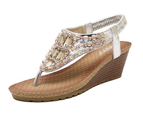 avec dames Ohmais Flops plat silver femmes sandale perles fille Flattie flip Bohême Tongs été Sandales ZqUa5wPxq