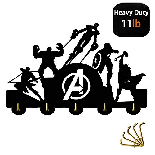 Beaty The Avengers Wall Door Hooks 20LB(Max) Quality Black Wood Made -Light in Weight-Easy to Install -Five Metal Hooks (DJ)