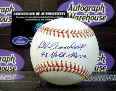 Inscribed Gold Glove (Autograph Warehouse 56574 Del Crandall Autographed Baseball Inscribed 4X Gold Glove)