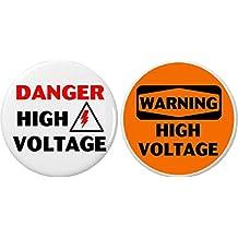"""Set 2 Danger / Warning High Voltage 2.25"""" Keychains Energy Safety Hazardous Lab"""