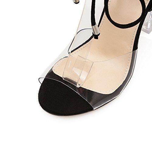 cristallo tacco di ZHZNVX croce ruvido open pizzo alto scarpe toed sandali apricot femminile sandali Estate nuovi 44Px0a