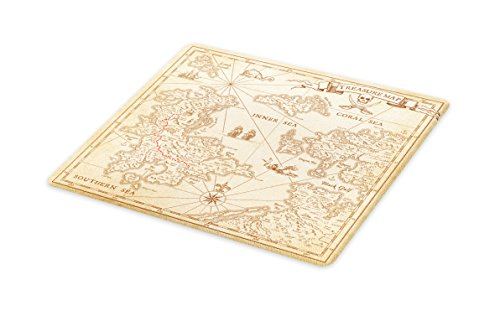 Lunarable Island Map Cutting Board, Detailed Treasure Map with Unique Nautical Symbols Discovery Exploration Theme Print, Decorative Tempered Glass Cutting and Serving Board, Small Size, Beige