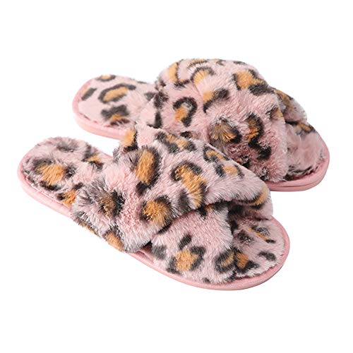 Soletta Suola Peluche Flip Open amp; Twgdh Soffice Slip Spa Coperta Toe House Ladies 37 Flop Gomma Confortevole Leopard In Slider pink Pantofole Morbida On x66qURwP