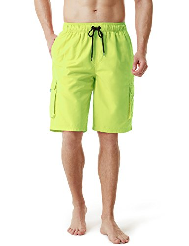TSLA Men's 11 Inches Swimtrunks Quick Dry Water Beach, Solid(msb01) - Neon Yellow, Large ()