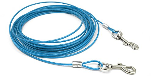 Beirui Premium Blue 16' Dog Tie-Out Cable - Heavy Duty Dogs Chain Leashes - Perfect Pets Lead for Small & Medium Size