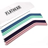 Flathead Bent Reusable Silicone Drinking Straws w/Cleaning Brush - Extra long for 30oz and 20oz tumblers and BPA Free (Set of