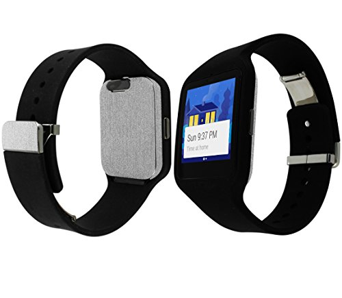 Skinomi TechSkin - Sony Smartwatch 3 Screen Protector + Brushed Aluminum Full Body Skin / Front & Back Wrap / HD Clear Film / Ultra Invisible & Anti-Bubble Shield
