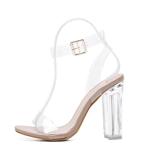 Eastlion Women's Stiletto High Heel Sandals Peep Toe Shoes White q5WorUovFh