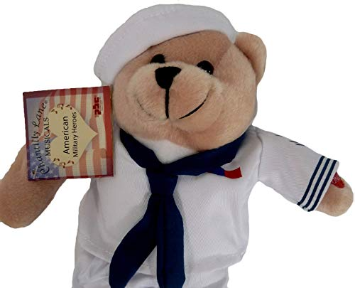 Teddy Bear Navy (Chantilly Lane Plush Bear 11 Inch Singing Military Hero Navy Anchors Away)