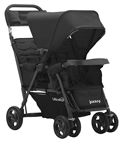 JOOVY Caboose Too Ultralight Graphite Stand-On Tandem Stroller, Black (Double Stroller For Newborn And 2 Year Old)
