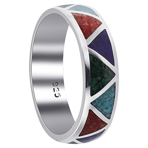 Turquoise Lapis Inlay - Men's Sterling Silver Multi Stone 6mm Band Size 10 Southwestern Style
