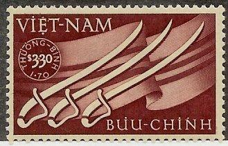 South Vietnam Stamps - 1952, Scott B2, Sabers & Flag, MNH, F-VF
