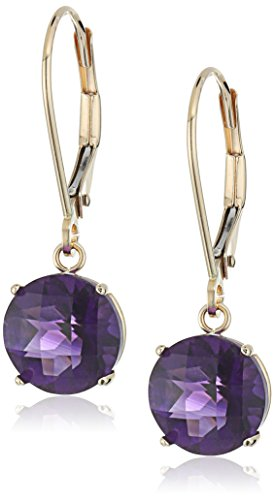 - 10k Yellow Gold Round Checkerboard Cut Amethyst Leverback Earrings (8mm)