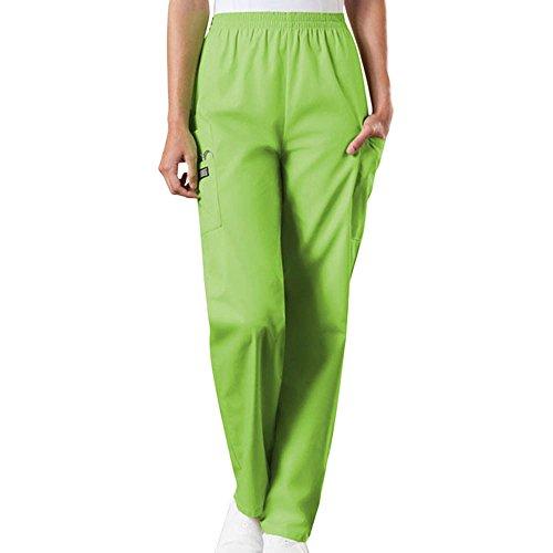 Cherokee Workwear Originals Women's Scrubs Elastic Waist Utility Scrub Pants Small Tall Lime Green