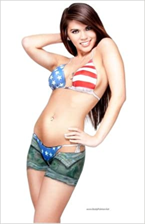 flag Women body paint american