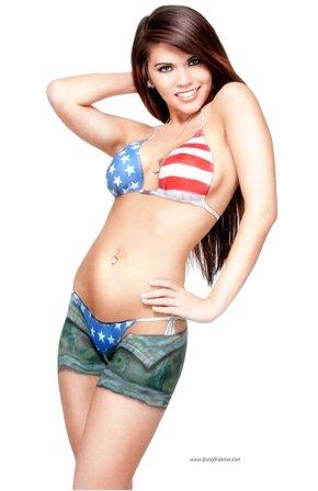 American Flag Bikini Militay Pin up Body Paint Poster (Tribute Body Painting)