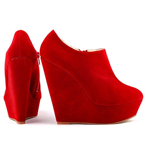 Women's Closed Size Suede Wedge Toe ZriEy Red Zipper High Fashion Boot UK Velvet 7 Booties Heel Faux AxdCwCqFU