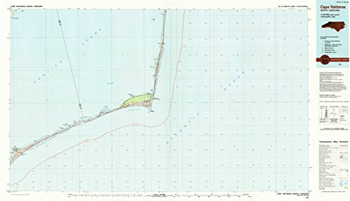 (YellowMaps Cape Hatteras NC topo map, 1:100000 Scale, 30 X 60 Minute, Historical, 1985, Updated 1990, 24.1 x 42.1 in - Polypropylene)