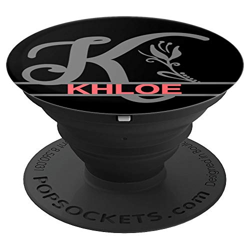 Khloe First Name With Monogram K and Flower Pink Black - PopSockets Grip and Stand for Phones and Tablets
