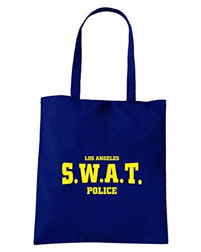 T-Shirtshock - Bolsa para la compra T0325 SWAT POLICE militari Azul Marino