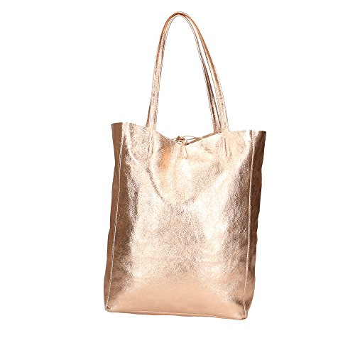 in da in Borsa 27x33x13 Spalla Rosa Pelle Bag Cm Made Vera Shoulder Donna Aren Italy a RUPqFwnC