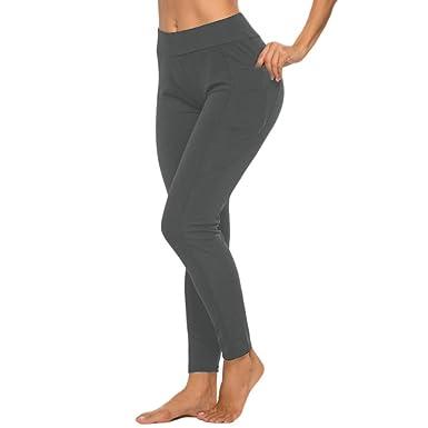 Leggings Deporte Mujer Cintura Alta con Bolsillo Color Sólido ...
