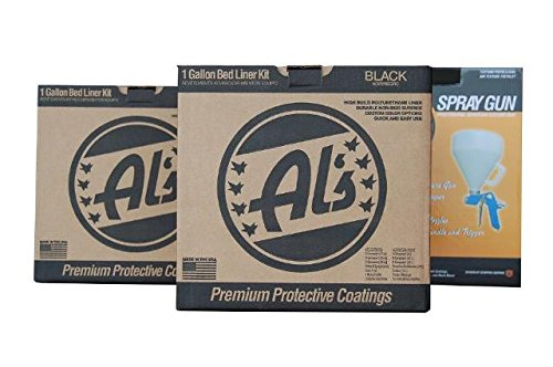 Al's Liner ALS-199 Black Premium DIY Polyurethane Spray-On Truck Bed Liner Kit with Spray Gun, Bed Liner Kit, Truck Bed Coating, Truck Bed Liner, Spray-On Kit - 2 Gallons (One Truck Kit)