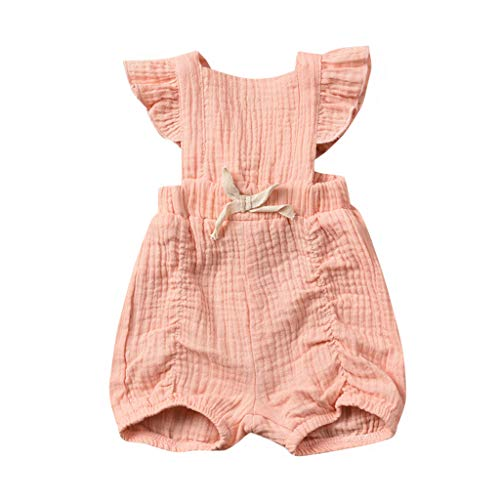 Summer Baby Layette Set Girl Cotton Linen Breathable,Wesracia Baby Romper Girl Bodysuit Solid Ruffle Jumpsuit(Pink,18M)
