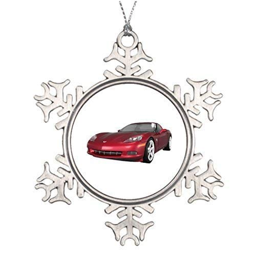 wonbye Christmas Ornaments 2018, Decorating Ideas Corvette Sports Car Candy Apple Finish Decors Car Pattern Metal Snowflake Tree Decoration