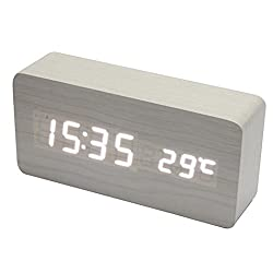 DZT1968® Wooden LED Electronic Desktop Digital Alarm Clock With Temperature