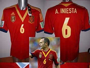 adidas España Iniesta Adulto Grande Marussia 2013 Camiseta Jersey fútbol Barcelona Espana: Amazon.es: Deportes y aire libre