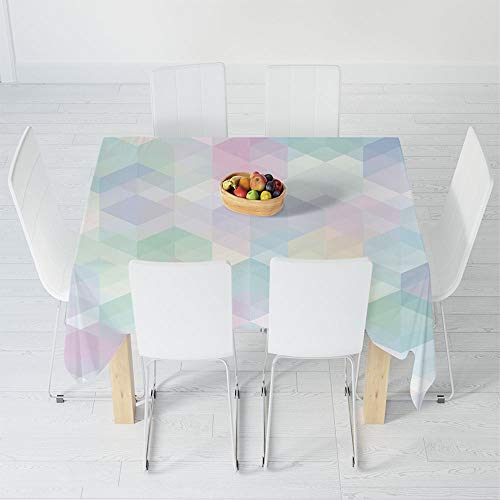 (Custom Tablecloth,Pastel,for Home & Office & Restaurant Table Tea Table,39.4 X 39.4 Inch,Retro Style Artistic Pattern with Hexagonal Shapes)