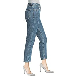 DYLH Straight Leg Vintage Denim Jeans High Rise Nice Shape Pant for Women Ladies