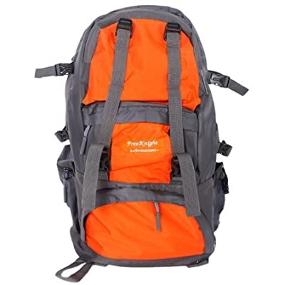 FK0218 50L Outdoor Sport Backpack, Knapsack, for Hiking, Camping, Mountaineering, Trekking, Travel,w/ Rain Cover, Water Resistant, Nylon Fabric Material, Orange