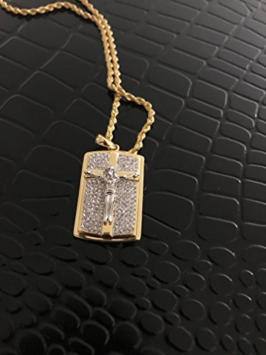 Michael Anthony Cross Gold (Crystal Accent 18kt Gold Over Sterlin Silver Dog Tag W Cross W Jesus Pendant 22