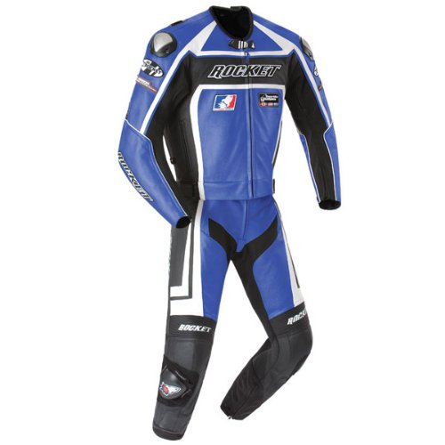 Joe Rocket Speedmaster 5.0 Men's Leather 2-Piece Motorcycle Race Suit (Blue/Black, Size 50)