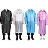 EVA Portable Raincoat - Reusable Rain Poncho 4 Pack - Unisex Waterproof Raincoat Rain Poncho Ideal for Outdoor Activities Such as Travel, Hiking, Cycling, etc