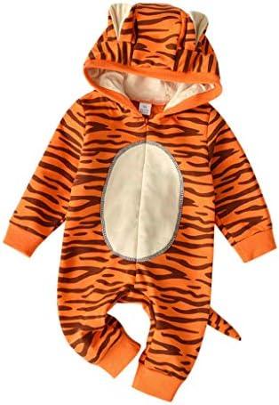 bobo4818 Babys Karikatur Schlafanzug Tiger Strampelanzug Overall Baumwolle gemischt Langarm Strampler Outwear (Orange, 18-24 Months)