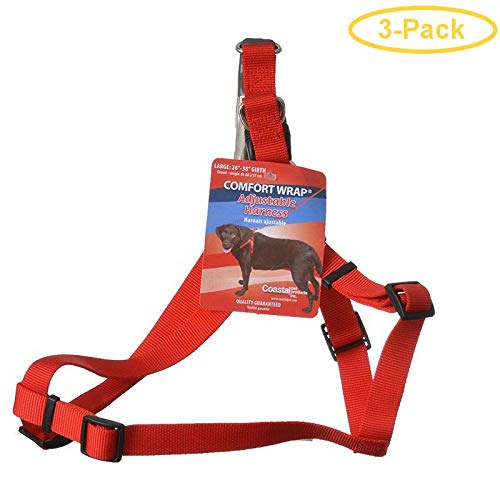 TUFF Collar Comfort Wrap Nylon Adjustable Harness - Red Large (Girth Size 26