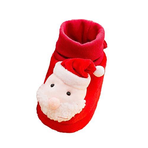 (Baby Boys Girls Fleece Booties -Cute Santa Warm Cotton Lining Crochet Soft Sole Infant First Walker Sock Shoes (Red - B, Age:12-15 Months))