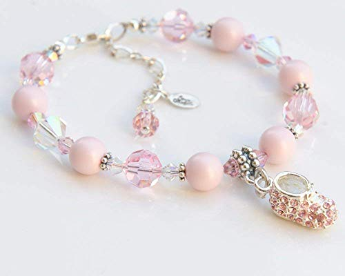 New Mom Pink Baby Shoe Charm Bracelet with Swarovski Crystals ()