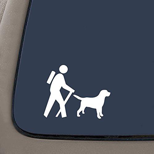 Labrador Chocolate Sticker (NI120 Hiker with Labrador Dog Camp Camper Camping Decal Sticker | 6.2