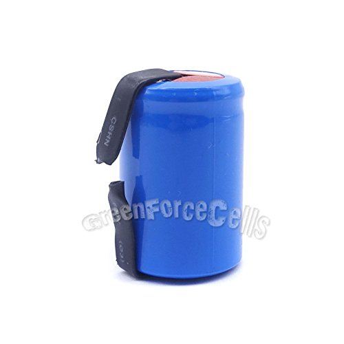 - 1 pc 4/5 SubC Sub C 1600mAh NiCD 1.2V Rechargeable Battery Cell with Tab Blue