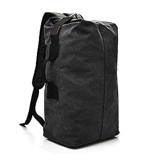 Large Capacity Rucksack Man Travel Bag Mountaineering Backpack Male Luggage Boys Canvas Bucket Shoulder Bags Men Backpacks (Black)