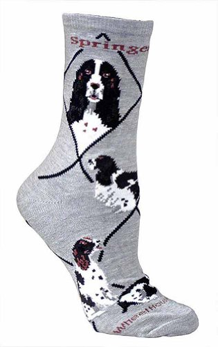 Springer Spaniel Gifts - Springer Spaniel Gray Ultra Lightweight Cotton Crew Socks,Gray,9-11