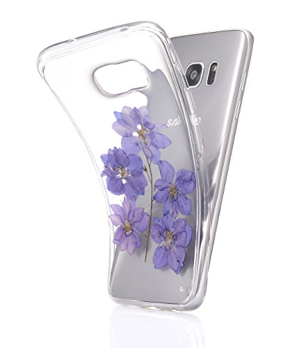 Galaxy S8 Case, Crosspace Samsung S8 Embedded Real Flower Case Handmade Custom Floral Pressed Soft TPU Clear Cover Personalized Dried Flower Protectiv…