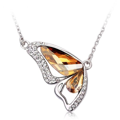Austrian Necklace Crystal Swarovski (LOVE Beauties Dancing Butterfly Platinum/white Gold Plated Austrian Crystal Swarovski Elements Crystal Pendant Necklace for Women in a Gift Box (Champagne))